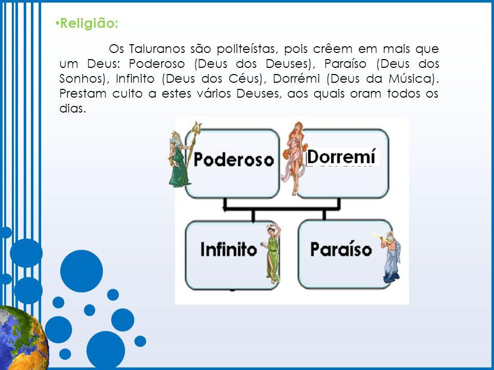 Os Taluranos são politeístas, pois crêem em mais que um Deus: Poderoso (Deus dos Deuses), Paraíso (Deus dos Sonhos), Infinito (Deus dos Céus), Dorrémi
