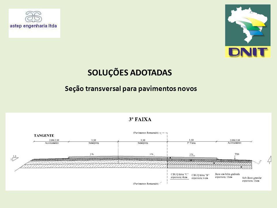 SOLUÇÕES ADOTADAS Seção transversal para pavimentos novos