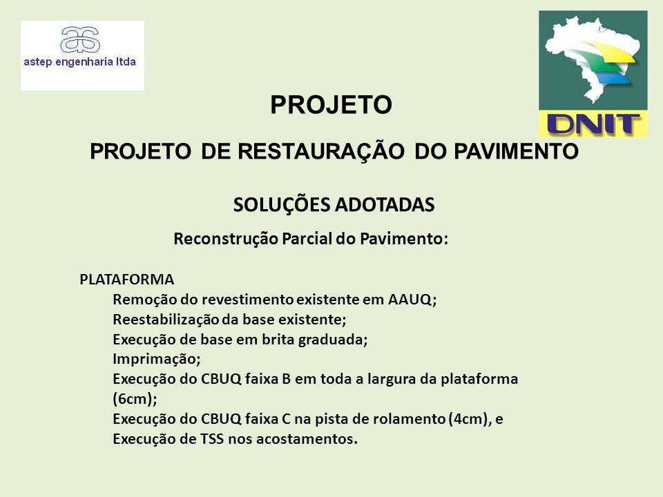 PROJETO PROJETO DE RESTAURAÇÃO DO PAVIMENTO SOLUÇÕES ADOTADAS Reconstrução Parcial do Pavimento: PLATAFORMA Remoção do revestimento existente em AAUQ;