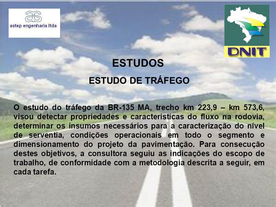 ESTUDOS O estudo do tráfego da BR-135 MA, trecho km 223,9 – km 573,6, visou detectar propriedades e características do fluxo na rodovia, determinar os