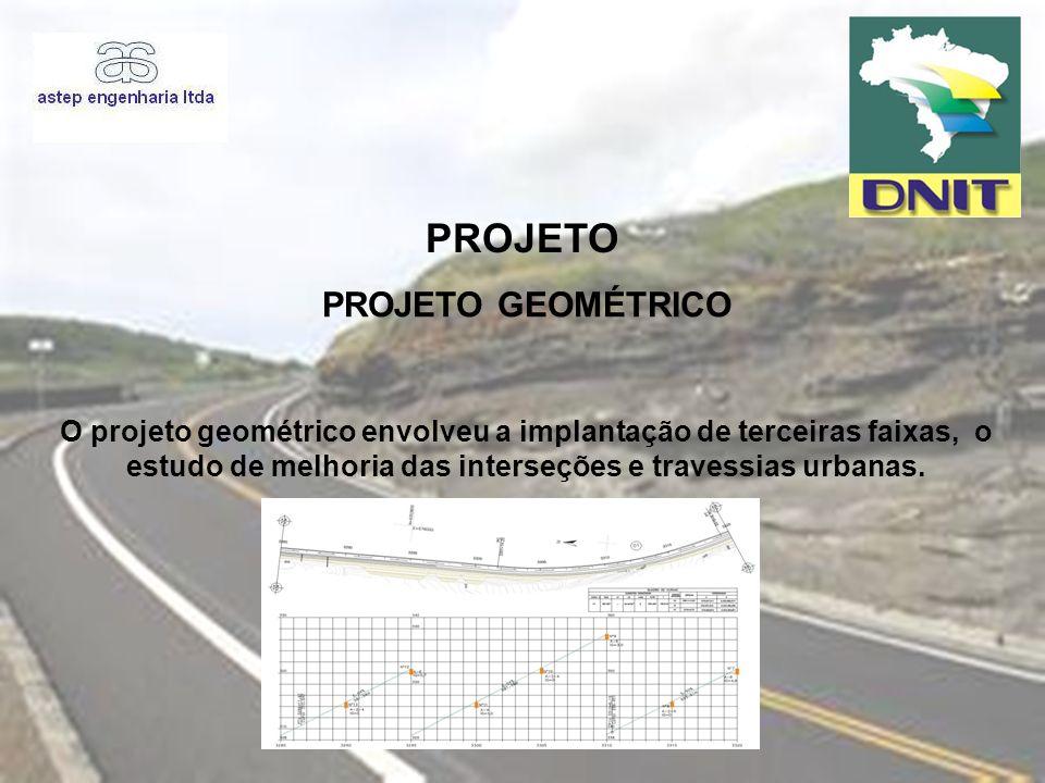 PROJETO O projeto geométrico envolveu a implantação de terceiras faixas, o estudo de melhoria das interseções e travessias urbanas. PROJETO GEOMÉTRICO