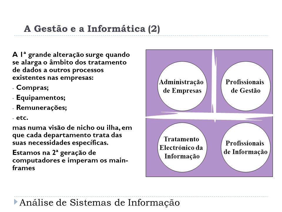 A Gestão e a Informática (2) A 1ª grande alteração surge quando se alarga o âmbito dos tratamento de dados a outros processos existentes nas empresas: