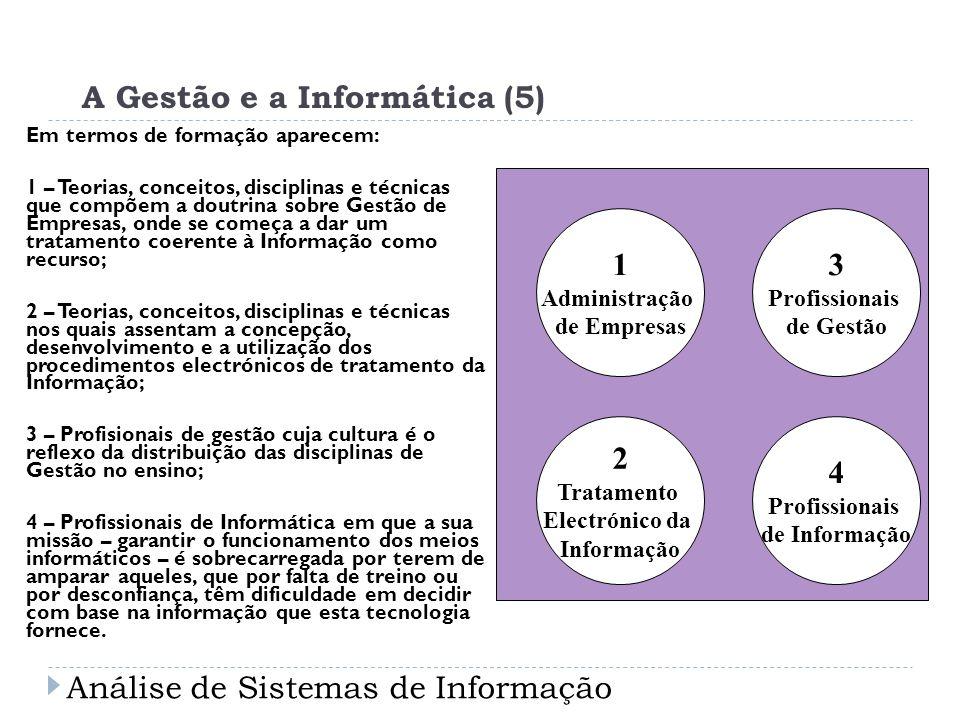 A Gestão e a Informática (5) Em termos de formação aparecem: 1 – Teorias, conceitos, disciplinas e técnicas que compõem a doutrina sobre Gestão de Emp