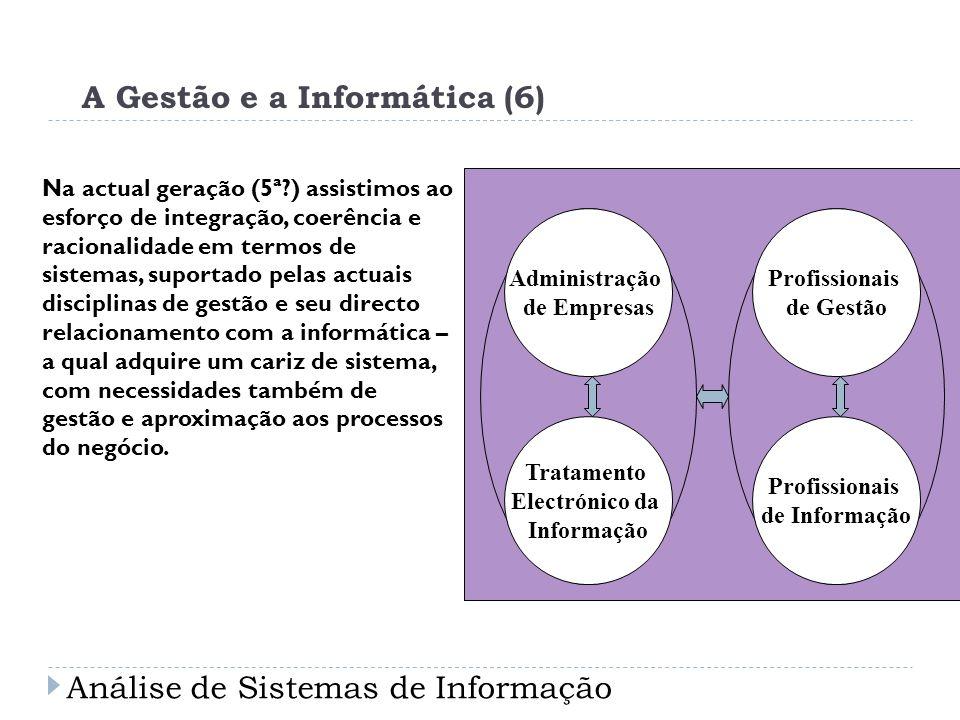 A Gestão e a Informática (6) Na actual geração (5ª?) assistimos ao esforço de integração, coerência e racionalidade em termos de sistemas, suportado p
