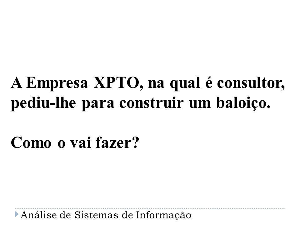 A Empresa XPTO, na qual é consultor, pediu-lhe para construir um baloiço. Como o vai fazer? Análise de Sistemas de Informação