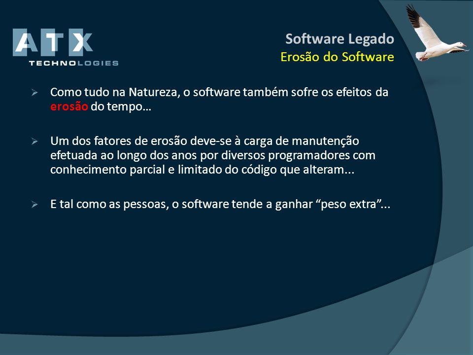 Software Legado Erosão do Software Como tudo na Natureza, o software também sofre os efeitos da erosão do tempo… Um dos fatores de erosão deve-se à ca