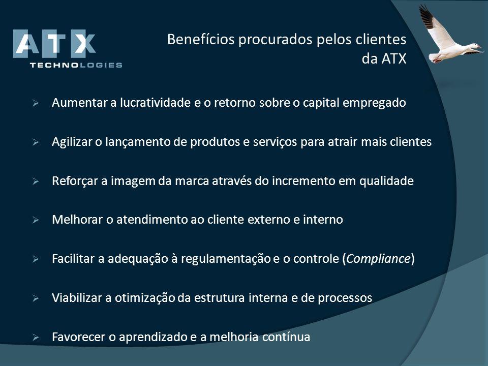 Benefícios procurados pelos clientes da ATX Aumentar a lucratividade e o retorno sobre o capital empregado Agilizar o lançamento de produtos e serviço