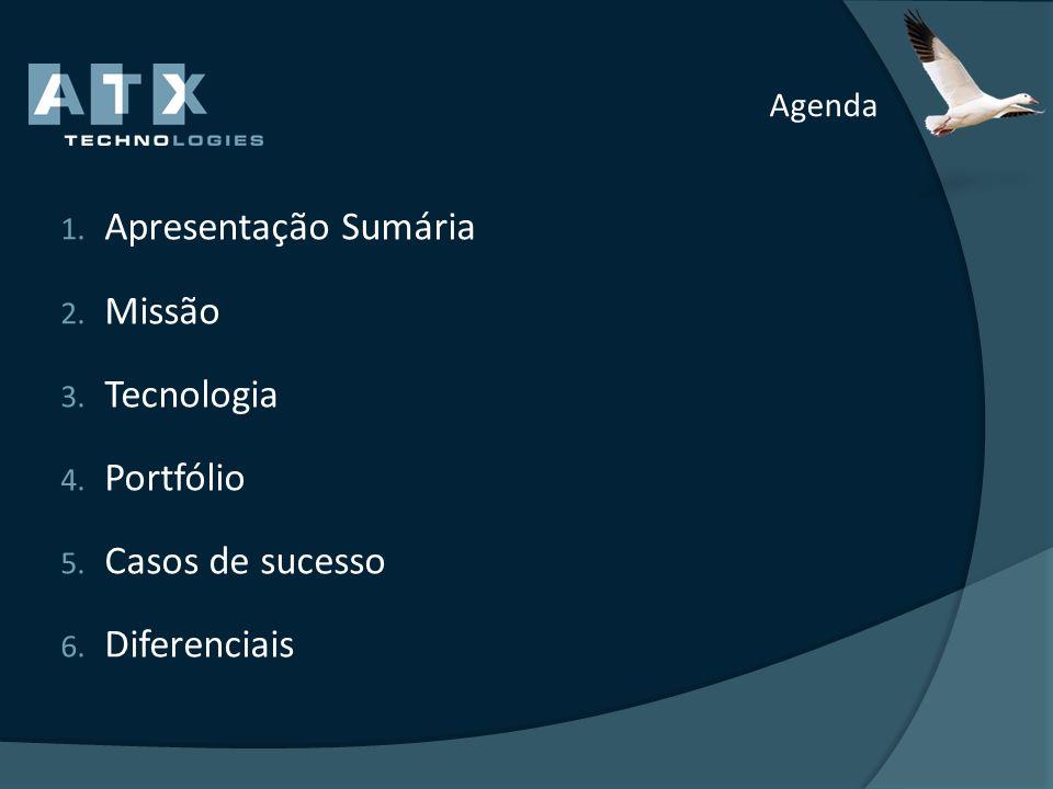 Agenda 1. Apresentação Sumária 2. Missão 3. Tecnologia 4. Portfólio 5. Casos de sucesso 6. Diferenciais