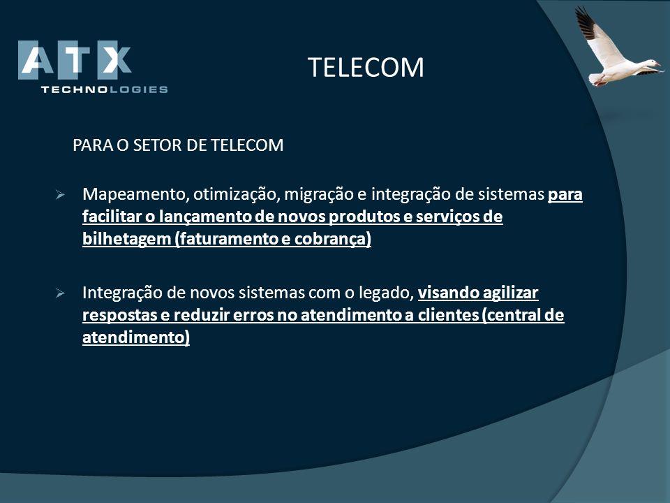 TELECOM PARA O SETOR DE TELECOM Mapeamento, otimização, migração e integração de sistemas para facilitar o lançamento de novos produtos e serviços de