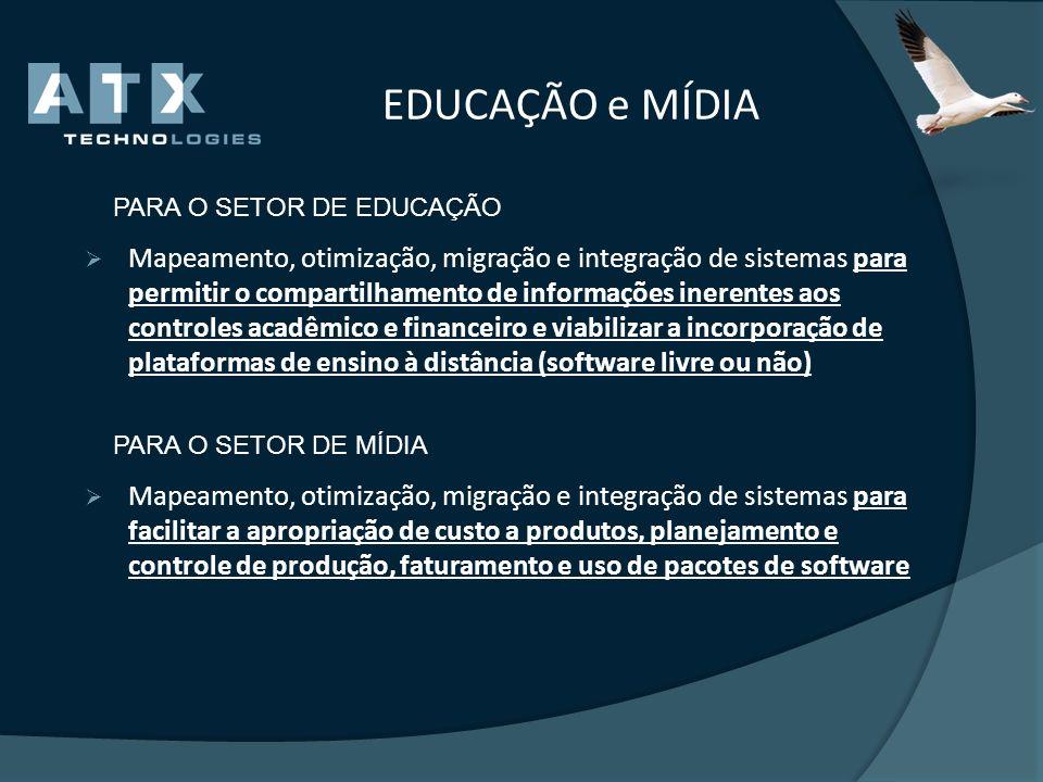 EDUCAÇÃO e MÍDIA PARA O SETOR DE EDUCAÇÃO Mapeamento, otimização, migração e integração de sistemas para permitir o compartilhamento de informações in