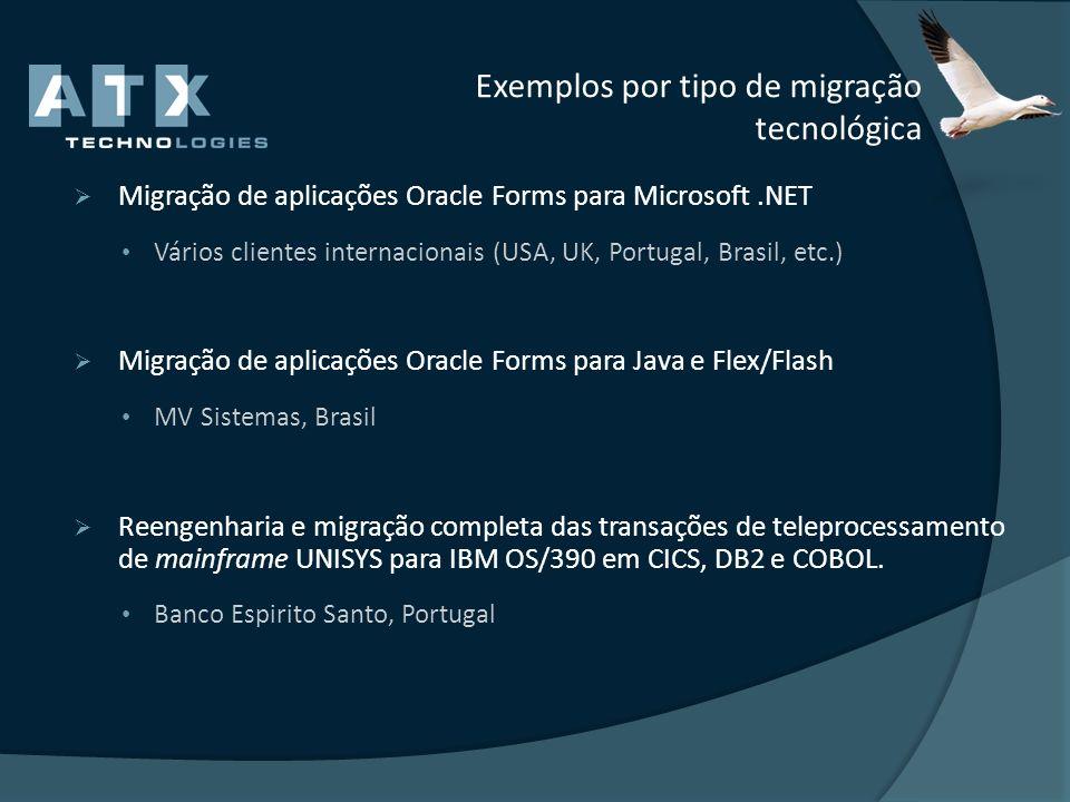 Exemplos por tipo de migração tecnológica Migração de aplicações Oracle Forms para Microsoft.NET Vários clientes internacionais (USA, UK, Portugal, Br