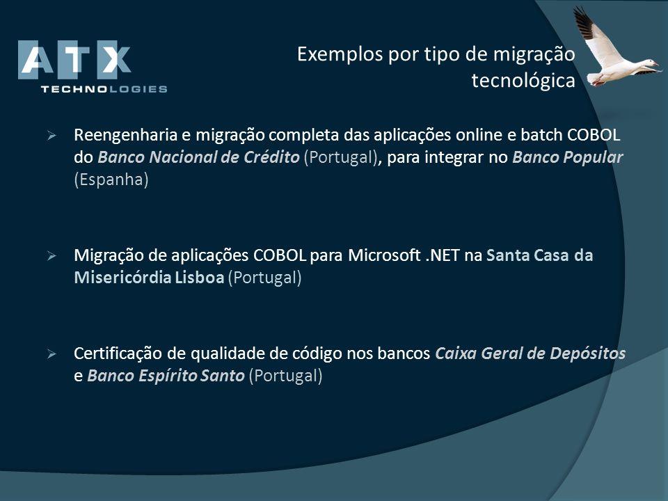 Exemplos por tipo de migração tecnológica Reengenharia e migração completa das aplicações online e batch COBOL do Banco Nacional de Crédito (Portugal)