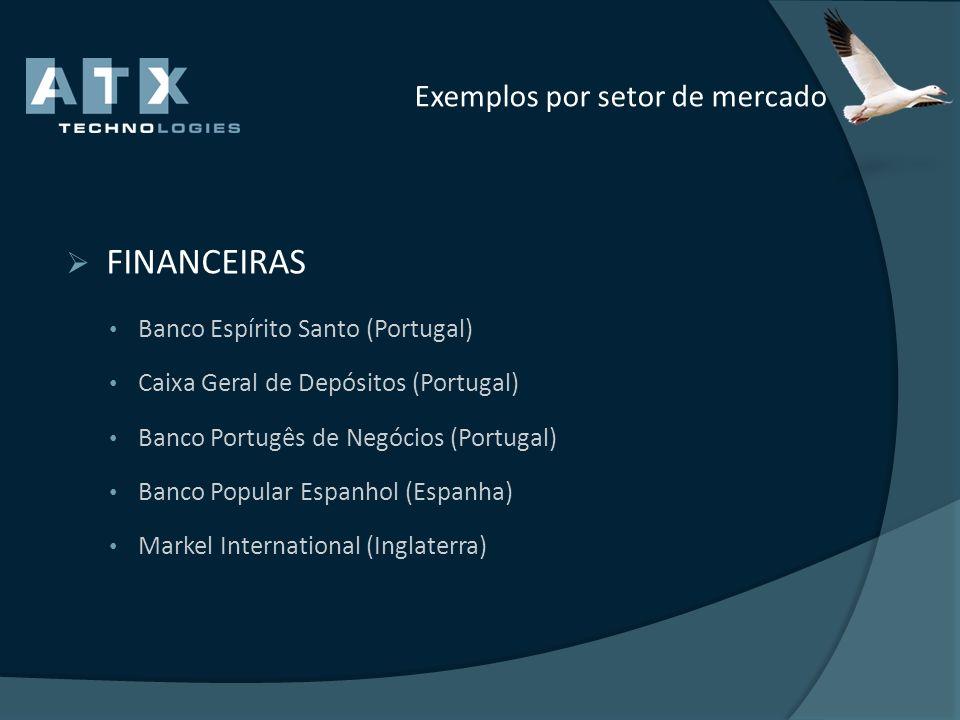 Exemplos por setor de mercado FINANCEIRAS Banco Espírito Santo (Portugal) Caixa Geral de Depósitos (Portugal) Banco Portugês de Negócios (Portugal) Ba