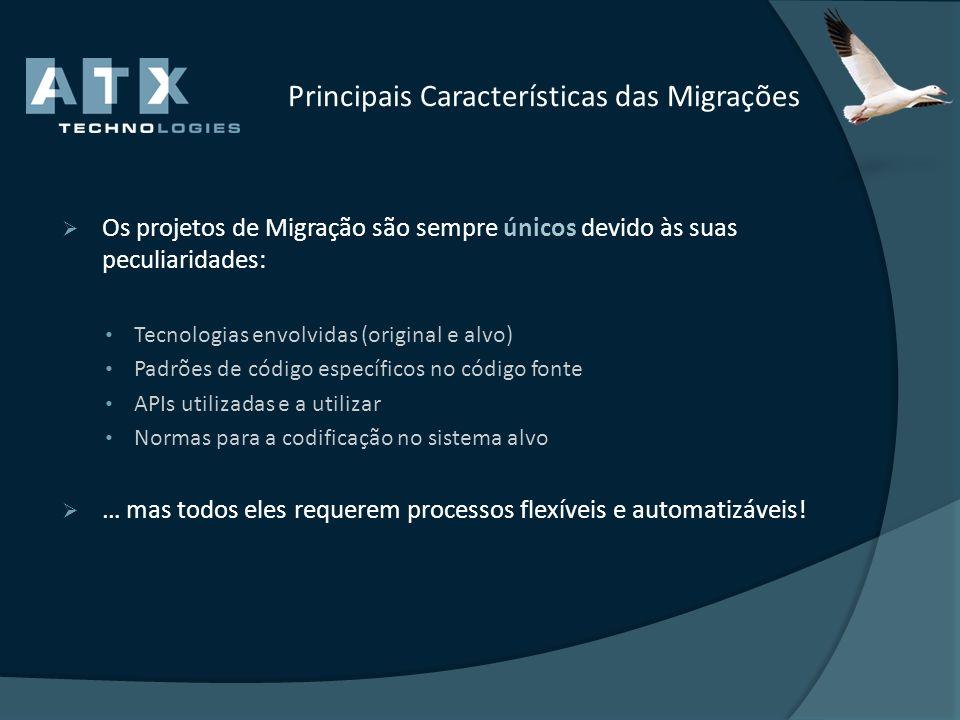 Principais Características das Migrações Os projetos de Migração são sempre únicos devido às suas peculiaridades: Tecnologias envolvidas (original e a