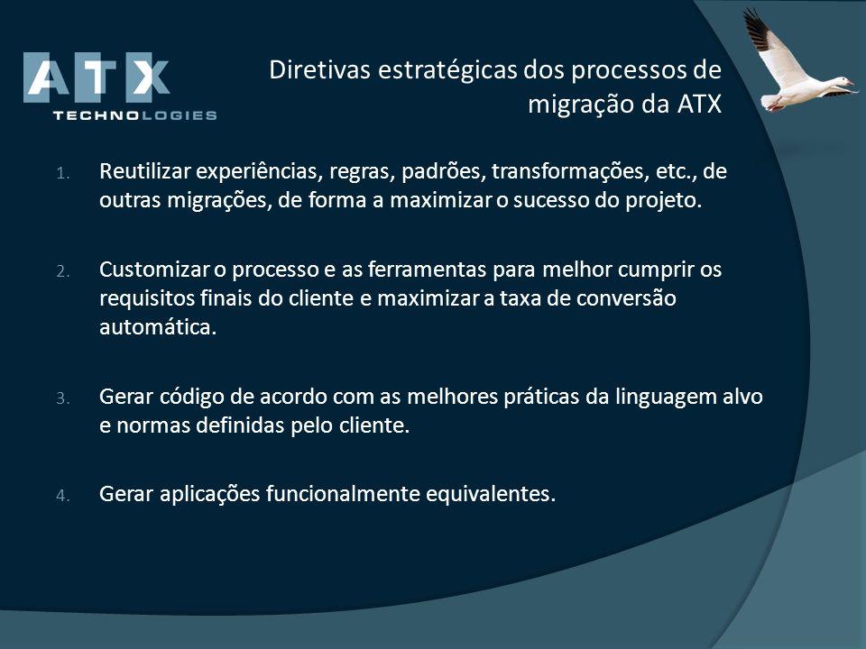 Diretivas estratégicas dos processos de migração da ATX 1. Reutilizar experiências, regras, padrões, transformações, etc., de outras migrações, de for