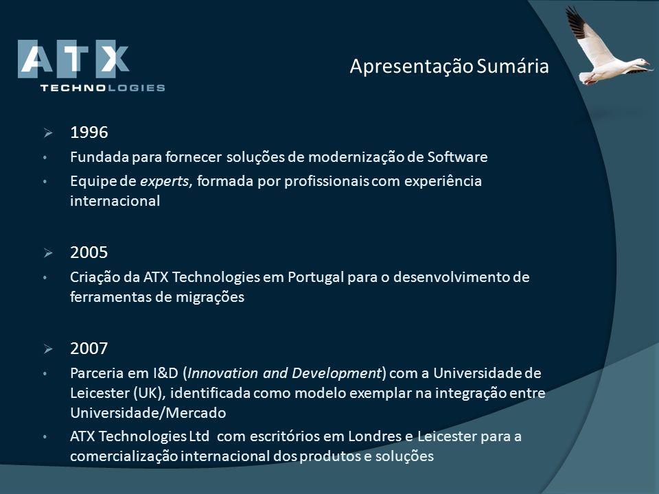 Apresentação Sumária 2009 ATX inicia a suas atividades na Espanha com presença própria Parceria com Microsoft para migrações (Forms2Net) 2010 ATX inicia a suas atividades no Brasil com objetivo de se atender o vasto mercado de migração existente no país.