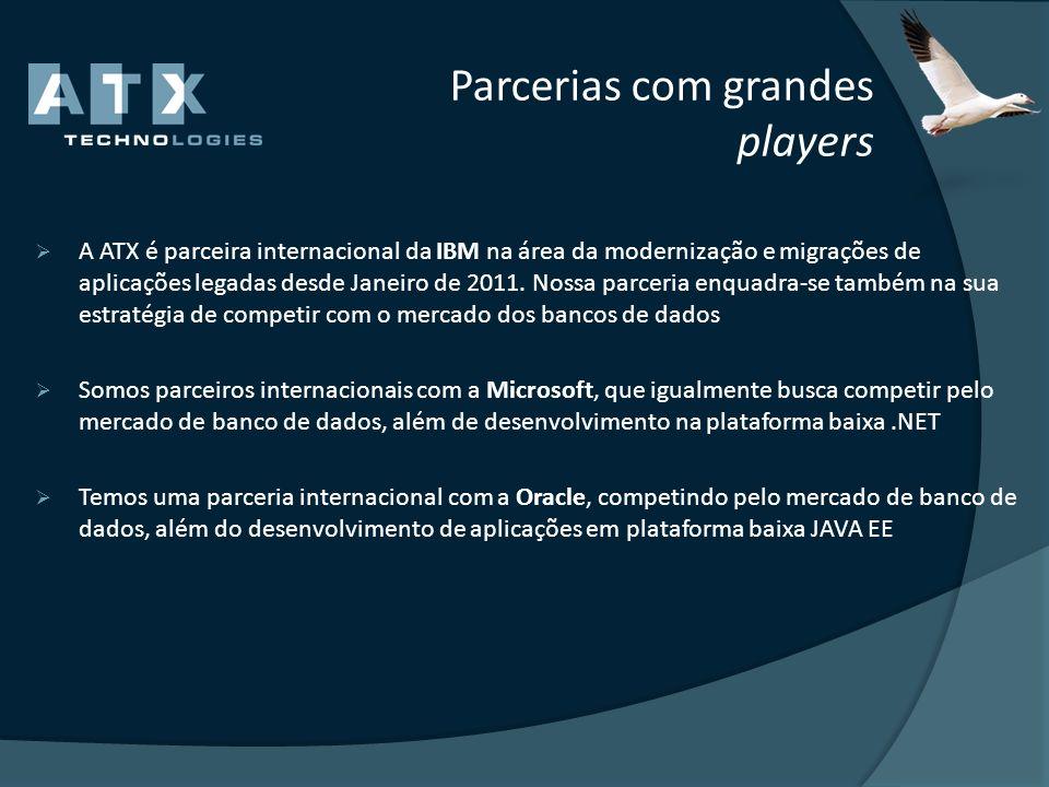 Parcerias com grandes players A ATX é parceira internacional da IBM na área da modernização e migrações de aplicações legadas desde Janeiro de 2011. N