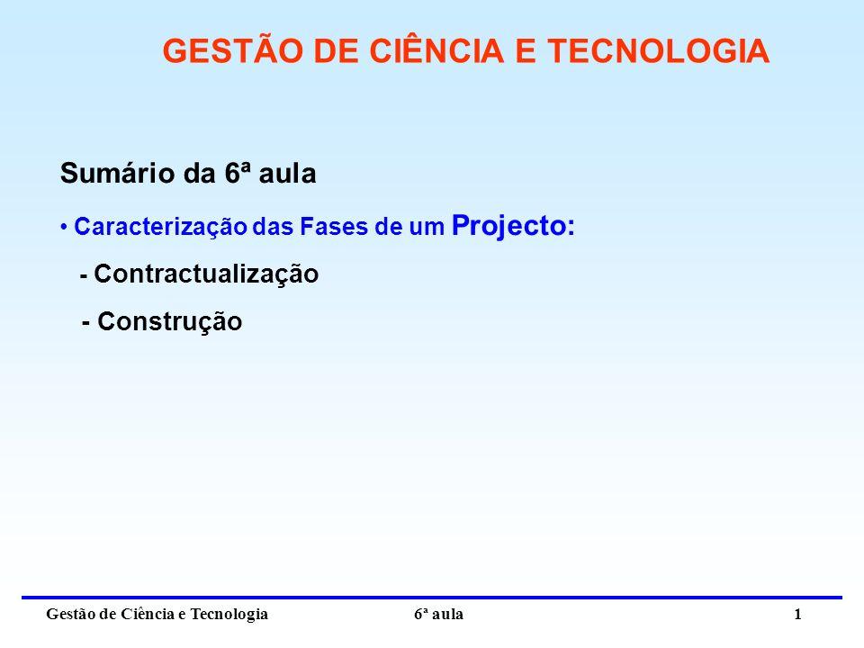 Gestão de Ciência e Tecnologia 6ª aula 1 GESTÃO DE CIÊNCIA E TECNOLOGIA Sumário da 6ª aula Caracterização das Fases de um Projecto: - Contractualização - Construção