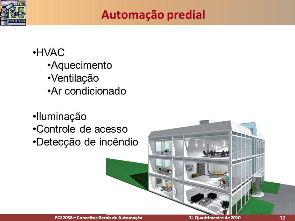 PCS2038 – Conceitos Gerais de Automação 1º Quadrimestre de 2010 12 Automação predial HVAC Aquecimento Ventilação Ar condicionado Iluminação Controle d