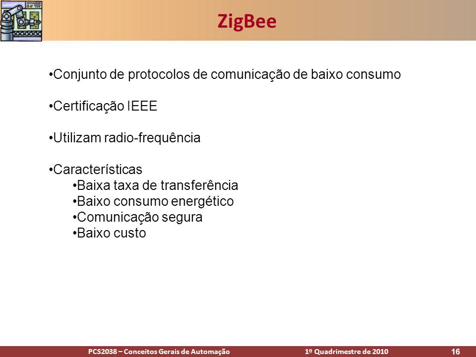 PCS2038 – Conceitos Gerais de Automação 1º Quadrimestre de 2010 16 ZigBee Conjunto de protocolos de comunicação de baixo consumo Certificação IEEE Uti