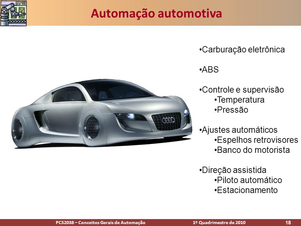 PCS2038 – Conceitos Gerais de Automação 1º Quadrimestre de 2010 18 Automação automotiva Carburação eletrônica ABS Controle e supervisão Temperatura Pr