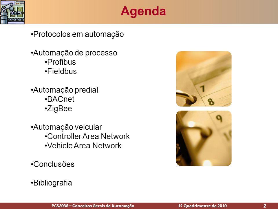 PCS2038 – Conceitos Gerais de Automação 1º Quadrimestre de 2010 2 Agenda Protocolos em automação Automação de processo Profibus Fieldbus Automação pre