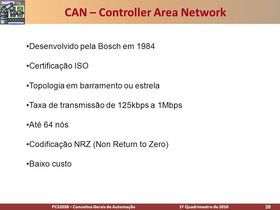 PCS2038 – Conceitos Gerais de Automação 1º Quadrimestre de 2010 20 CAN – Controller Area Network Desenvolvido pela Bosch em 1984 Certificação ISO Topo
