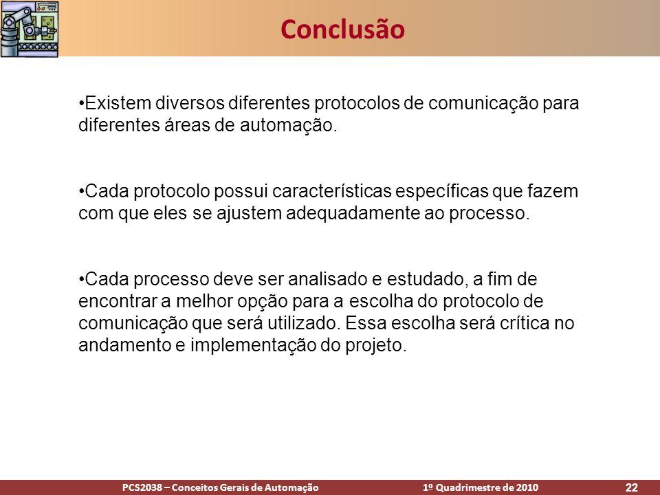 PCS2038 – Conceitos Gerais de Automação 1º Quadrimestre de 2010 22 Conclusão Existem diversos diferentes protocolos de comunicação para diferentes áre
