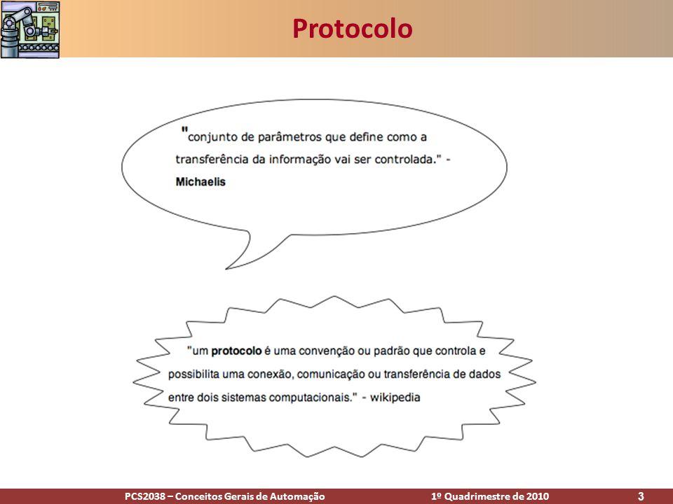 PCS2038 – Conceitos Gerais de Automação 1º Quadrimestre de 2010 3 Protocolo