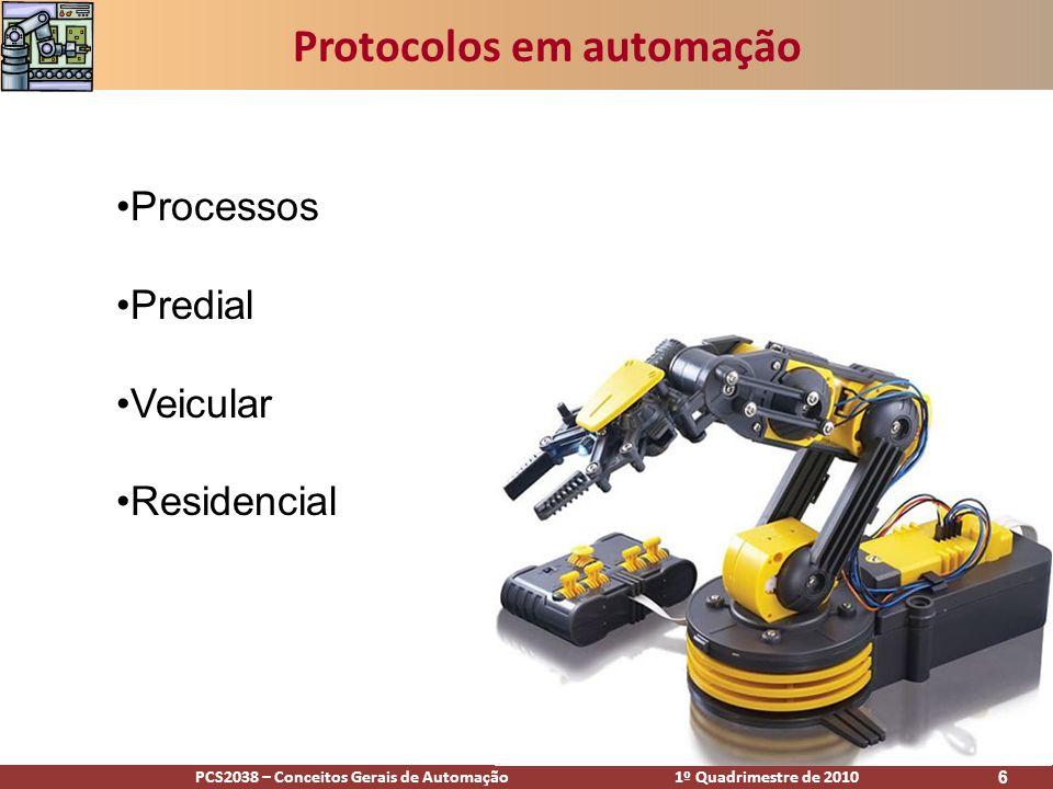 PCS2038 – Conceitos Gerais de Automação 1º Quadrimestre de 2010 7 Protocolos em automação de processos