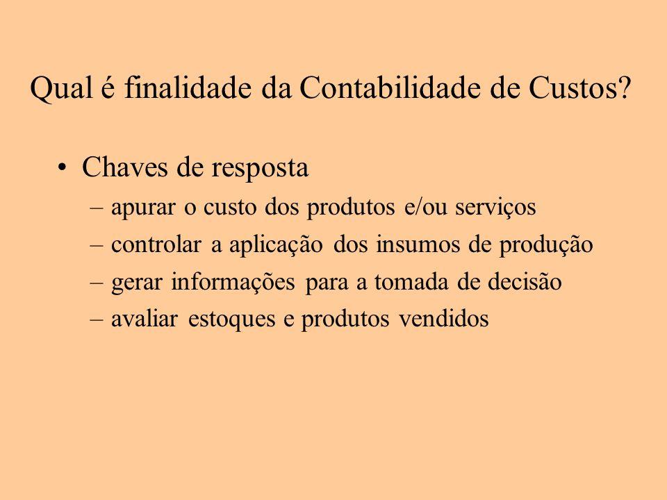 Qual é finalidade da Contabilidade de Custos? Chaves de resposta –apurar o custo dos produtos e/ou serviços –controlar a aplicação dos insumos de prod