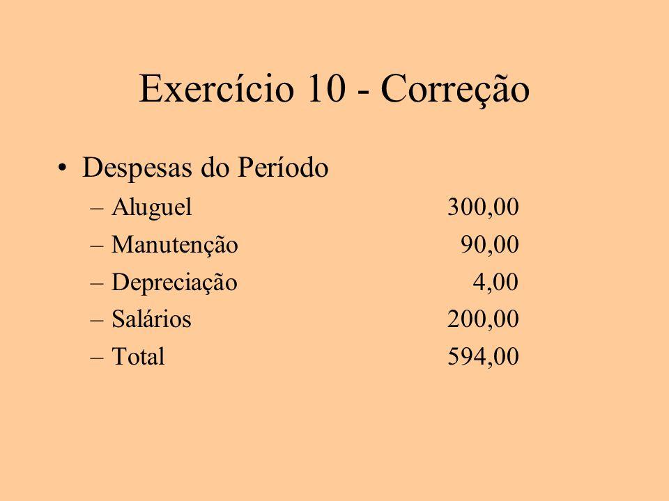 Exercício 10 - Correção Despesas do Período –Aluguel300,00 –Manutenção 90,00 –Depreciação 4,00 –Salários200,00 –Total594,00