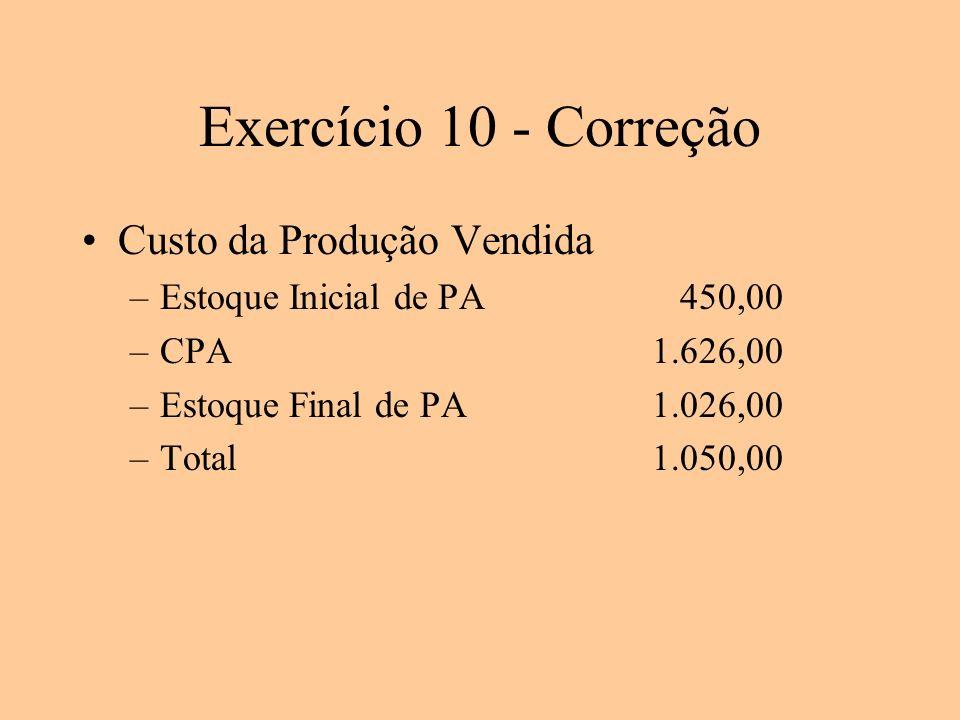Exercício 10 - Correção Custo da Produção Vendida –Estoque Inicial de PA 450,00 –CPA1.626,00 –Estoque Final de PA1.026,00 –Total1.050,00
