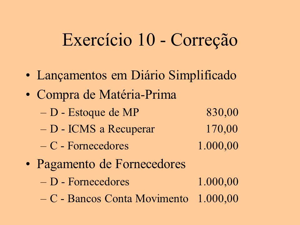 Exercício 10 - Correção Lançamentos em Diário Simplificado Compra de Matéria-Prima –D - Estoque de MP 830,00 –D - ICMS a Recuperar170,00 –C - Forneced