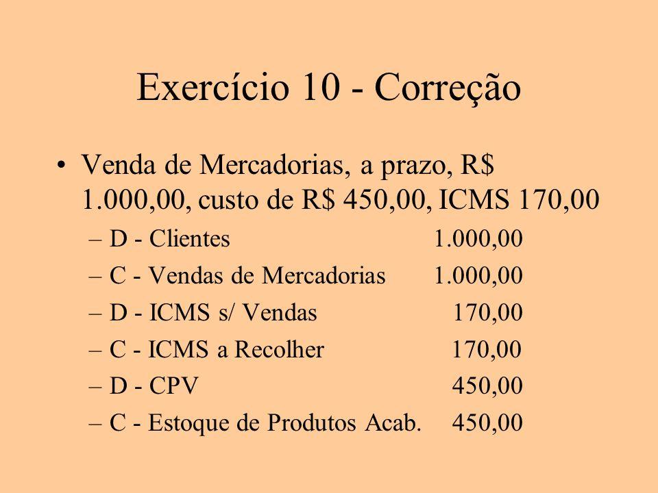 Exercício 10 - Correção Venda de Mercadorias, a prazo, R$ 1.000,00, custo de R$ 450,00, ICMS 170,00 –D - Clientes1.000,00 –C - Vendas de Mercadorias1.