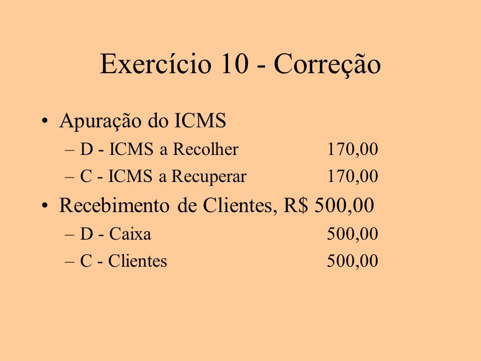 Exercício 10 - Correção Apuração do ICMS –D - ICMS a Recolher170,00 –C - ICMS a Recuperar170,00 Recebimento de Clientes, R$ 500,00 –D - Caixa500,00 –C