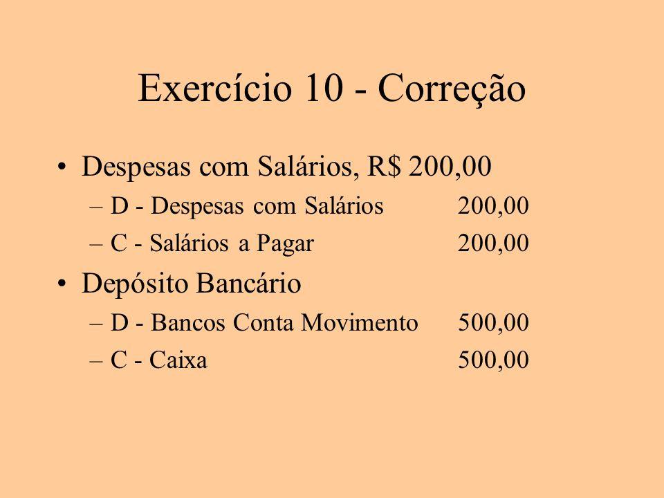 Exercício 10 - Correção Despesas com Salários, R$ 200,00 –D - Despesas com Salários200,00 –C - Salários a Pagar200,00 Depósito Bancário –D - Bancos Co