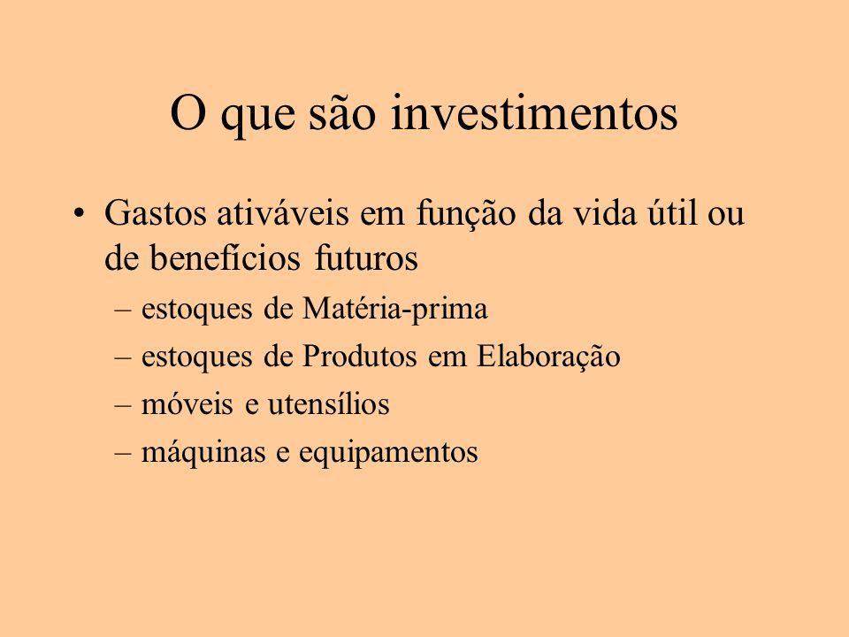 O que são investimentos Gastos ativáveis em função da vida útil ou de benefícios futuros –estoques de Matéria-prima –estoques de Produtos em Elaboraçã