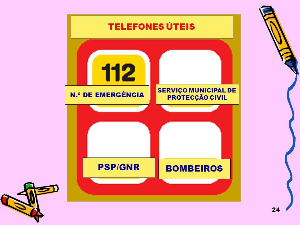 24 N.º DE EMERGÊNCIA SERVIÇO MUNICIPAL DE PROTECÇÃO CIVIL PSP/GNR BOMBEIROS TELEFONES ÚTEIS