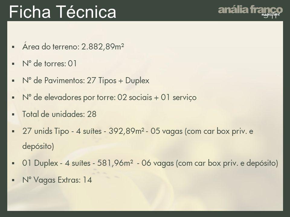 Ficha Técnica Área do terreno: 2.882,89m² Nº de torres: 01 Nº de Pavimentos: 27 Tipos + Duplex Nº de elevadores por torre: 02 sociais + 01 serviço Tot