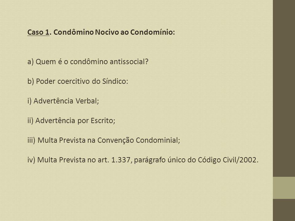 Caso 1. Condômino Nocivo ao Condomínio: a) Quem é o condômino antissocial? b) Poder coercitivo do Síndico: i) Advertência Verbal; ii) Advertência por