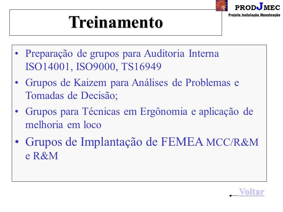 PROD J MEC Projeto, Instalação, ManutençãoTreinamento Preparação de grupos para Auditoria Interna ISO14001, ISO9000, TS16949 Grupos de Kaizem para Análises de Problemas e Tomadas de Decisão; Grupos para Técnicas em Ergônomia e aplicação de melhoria em loco Grupos de Implantação de FEMEA MCC/R&M e R&M Voltar