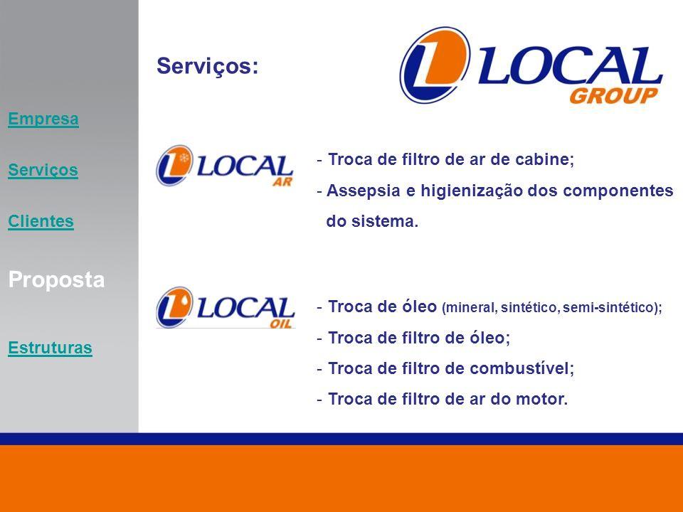 Serviços: - Troca de óleo (mineral, sintético, semi-sintético); - Troca de filtro de óleo; - Troca de filtro de combustível; - Troca de filtro de ar d