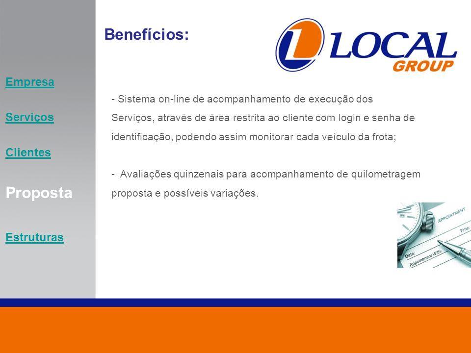 Empresa Serviços Clientes Proposta Estruturas Benefícios: - Sistema on-line de acompanhamento de execução dos Serviços, através de área restrita ao cl