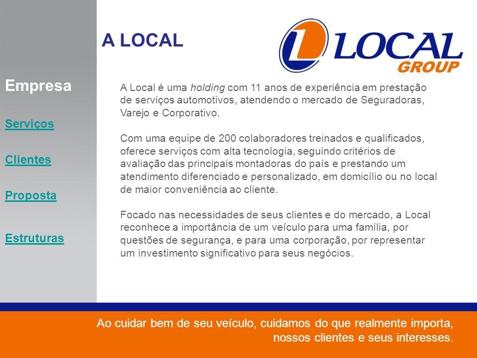 Empresa Serviços Clientes Proposta Estruturas A Local é uma holding com 11 anos de experiência em prestação de serviços automotivos, atendendo o merca