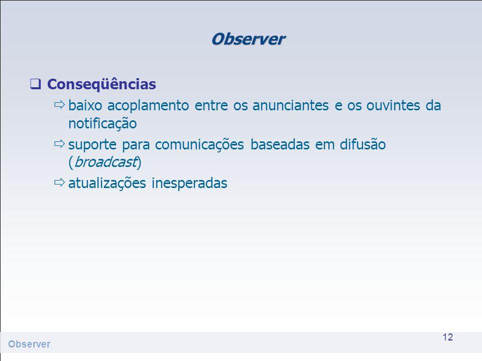 Observer Conseqüências baixo acoplamento entre os anunciantes e os ouvintes da notificação suporte para comunicações baseadas em difusão (broadcast) a