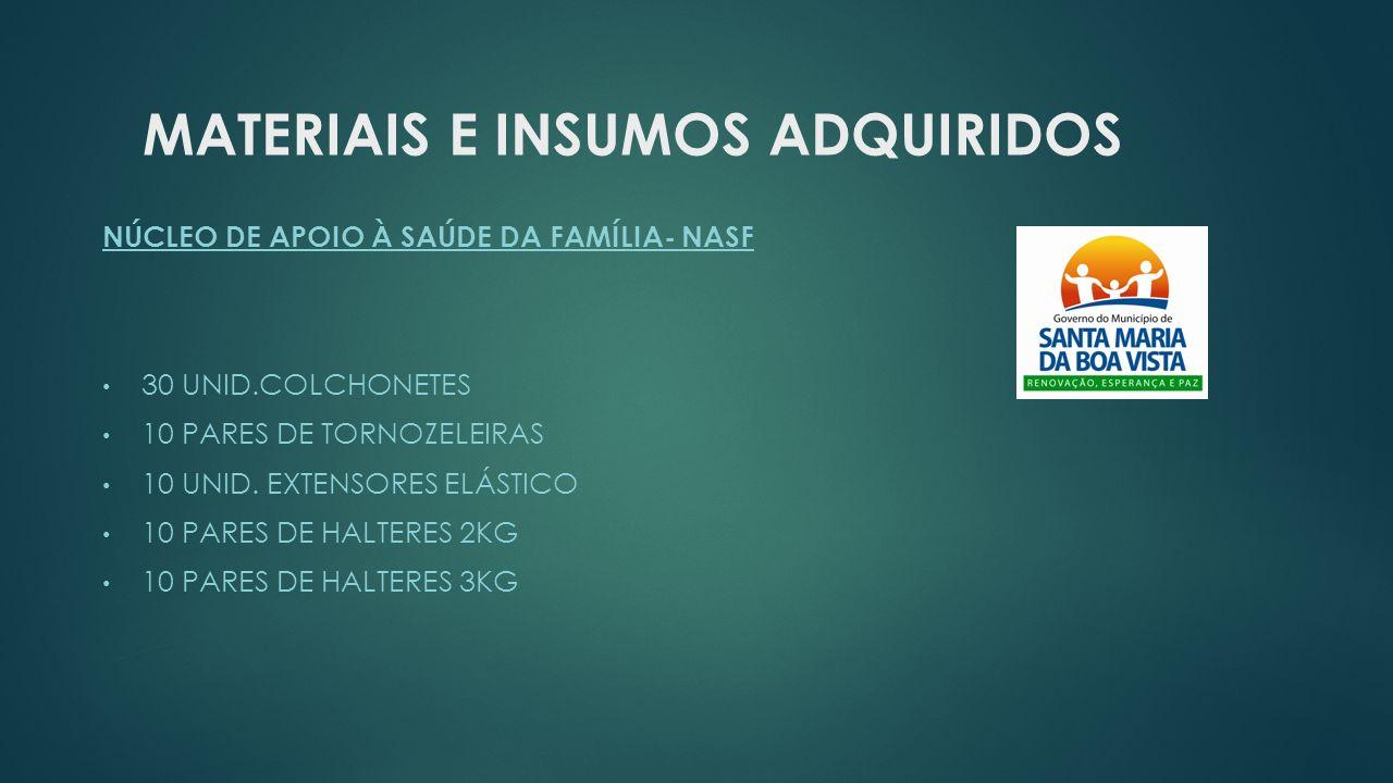 MATERIAIS E INSUMOS ADQUIRIDOS NÚCLEO DE APOIO À SAÚDE DA FAMÍLIA- NASF 30 UNID.COLCHONETES 10 PARES DE TORNOZELEIRAS 10 UNID. EXTENSORES ELÁSTICO 10
