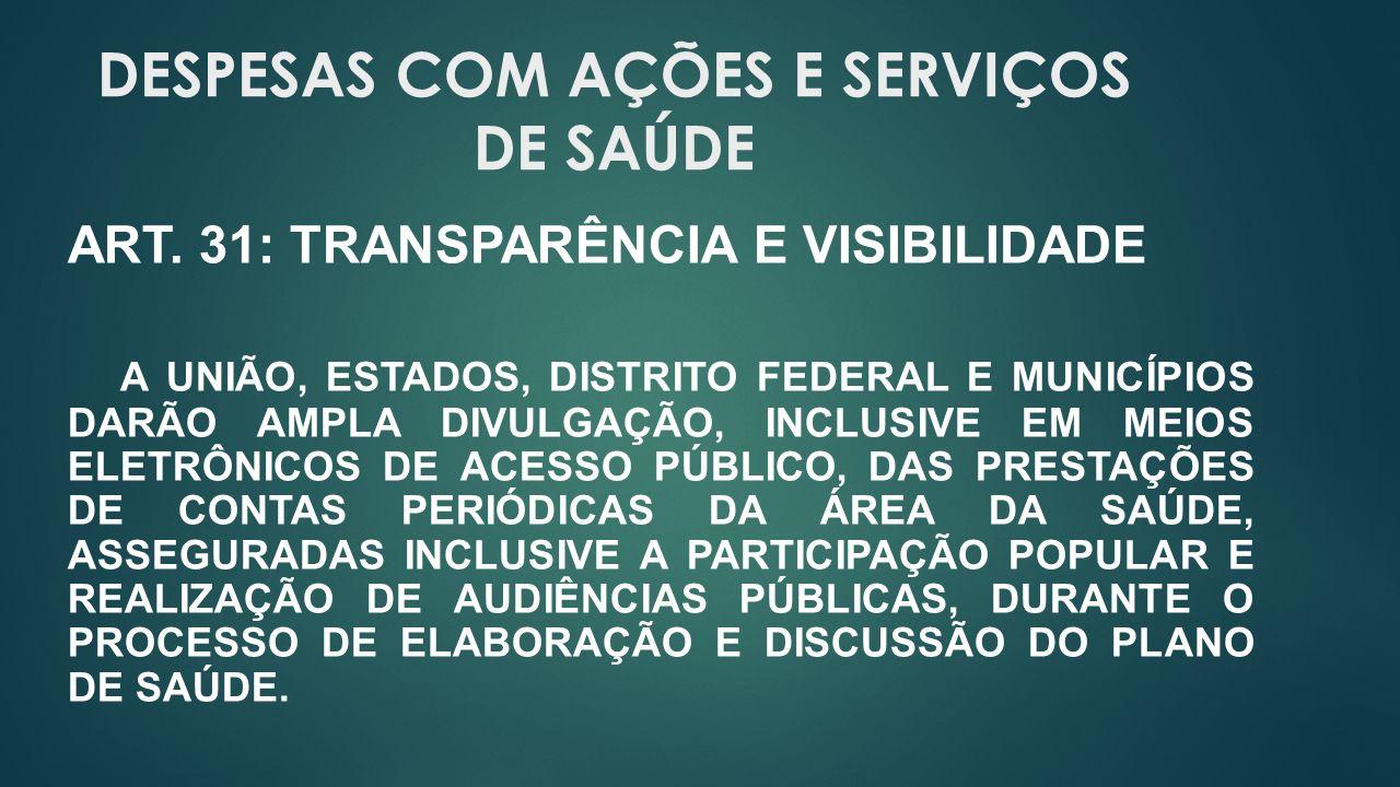 DESPESAS COM AÇÕES E SERVIÇOS DE SAÚDE ART.