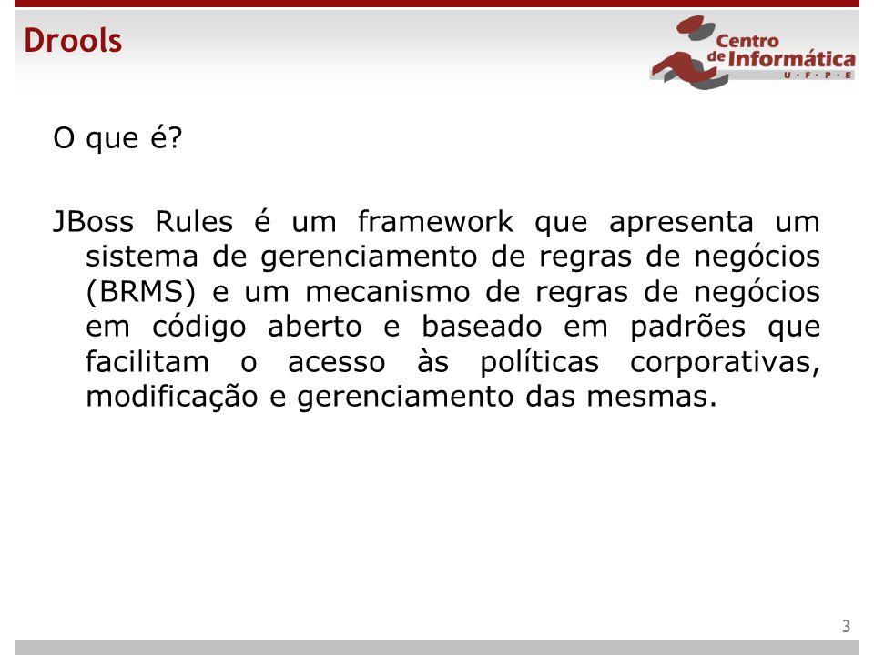 Drools O que é? JBoss Rules é um framework que apresenta um sistema de gerenciamento de regras de negócios (BRMS) e um mecanismo de regras de negócios