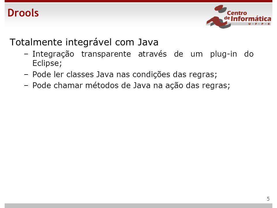 Drools Totalmente integrável com Java –Integração transparente através de um plug-in do Eclipse; –Pode ler classes Java nas condições das regras; –Pod